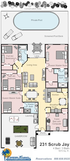 Floor Plan for 4bed/3bath Peaceful & Perfect