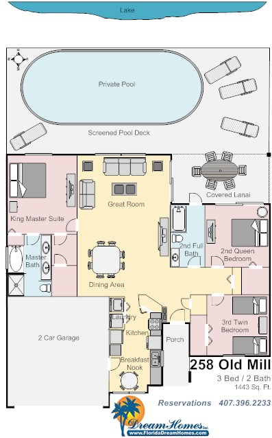 Floor Plan for 3Bed/2Bath Lakeside Tranquility