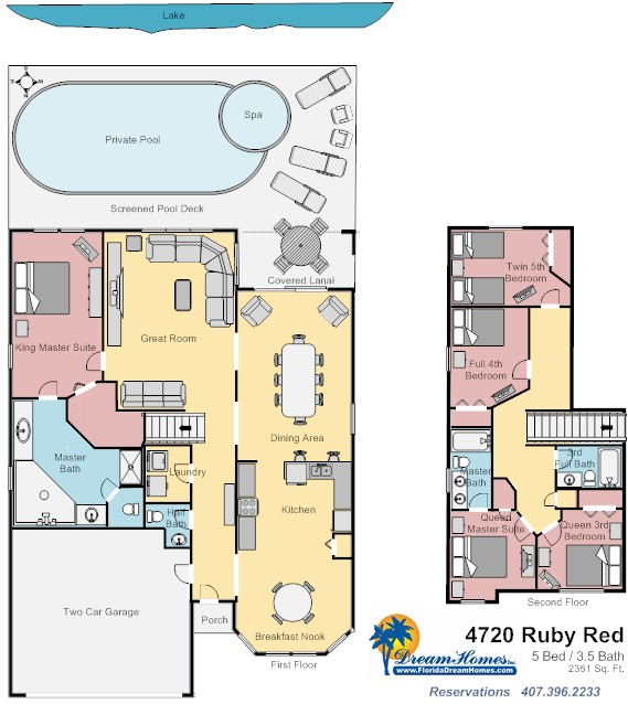 Floor Plan for 5bed/3.5bath Lake View