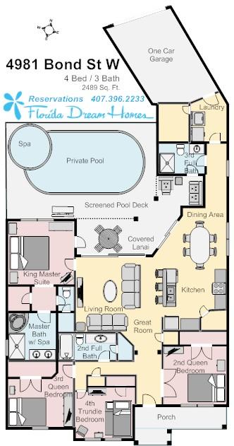 Floor Plan for 4Bed/3Bath Vacation Happy Home