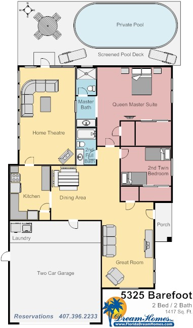 Floor Plan for 2bed/2bath Magical House
