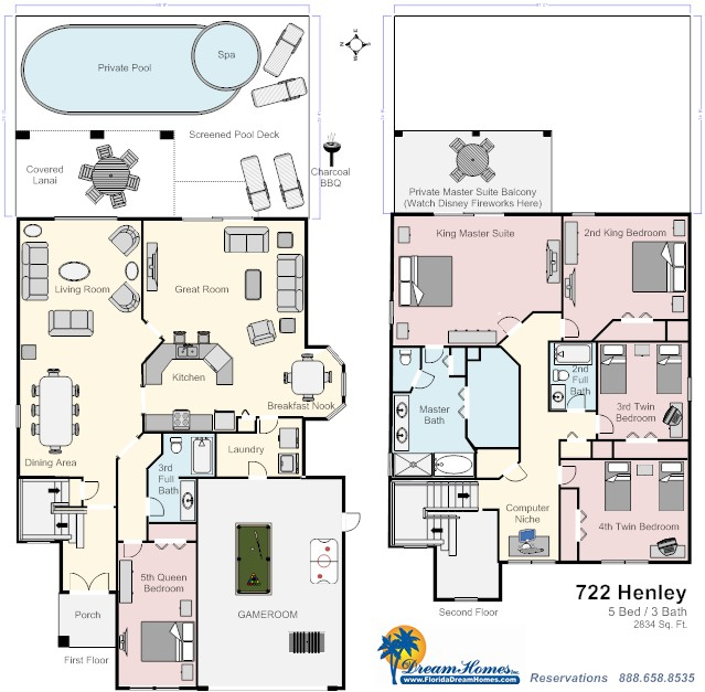Floor Plan for 5bed/3bath You Can Practically See Disney Fireworks From Your Master Balcony